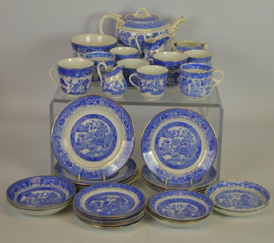 38 Pieces of Blue Willow Partial Tea Service