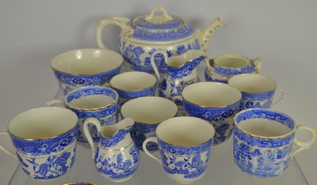 38 Pieces of Blue Willow Partial Tea Service - 2