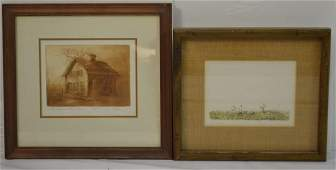 Two Hand Colored Engraved Prints