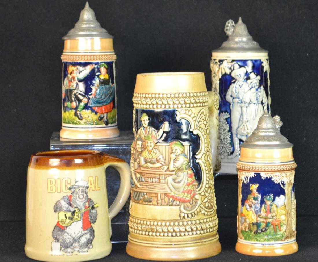 3 Lidded German Beer Stein & 2 Others