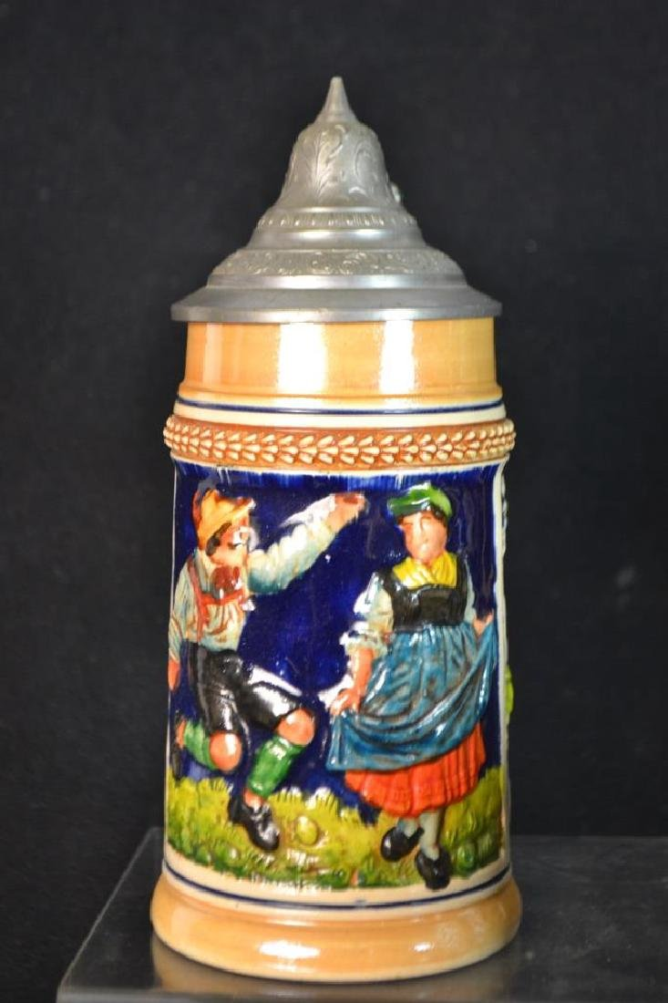 3 Lidded German Beer Stein & 2 Others - 4
