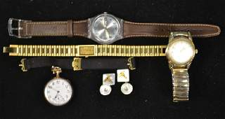 Grouping of Wrist Watches  Pocket Watch