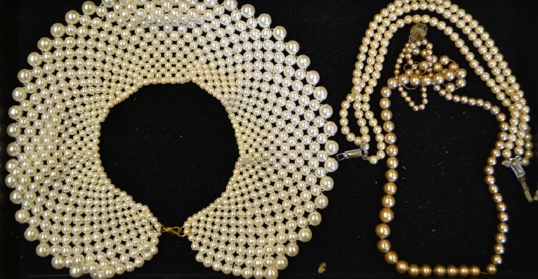 Faux Pearl Strand Necklace and Collar Necklace