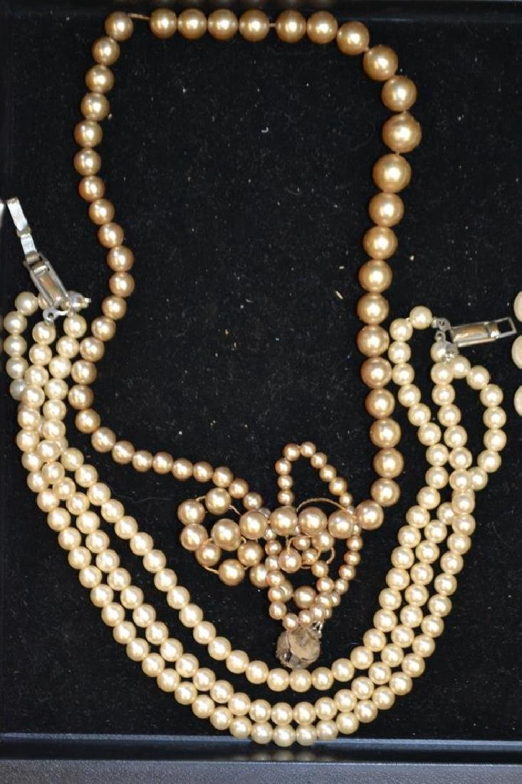 Faux Pearl Strand Necklace and Collar Necklace - 3