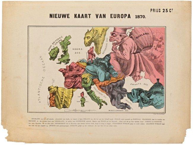 10: CARICATURE - (HUDOL, P.). Nieuwe kaart van Europa 1