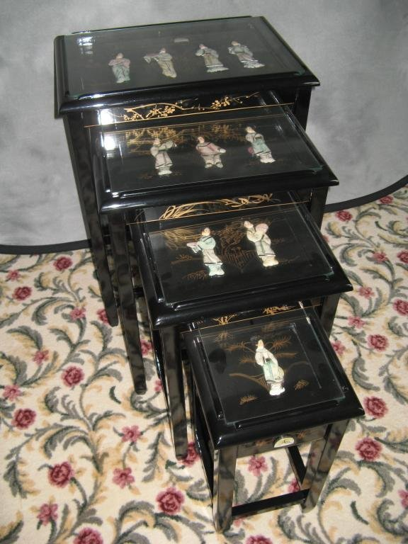 5: Chinese Nesting Tables  Black Laquer