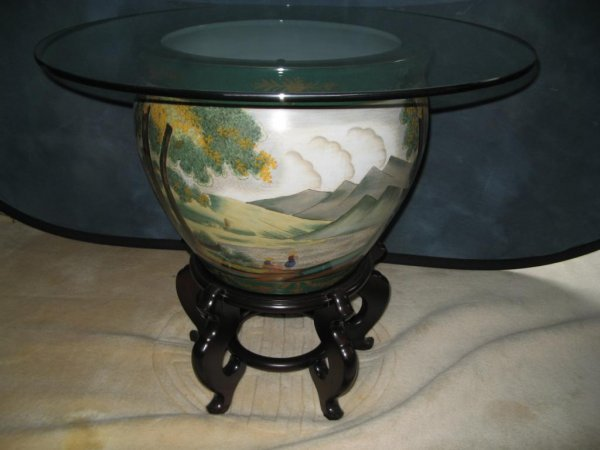 8: Chinese Porcelain Fish Bowl Table