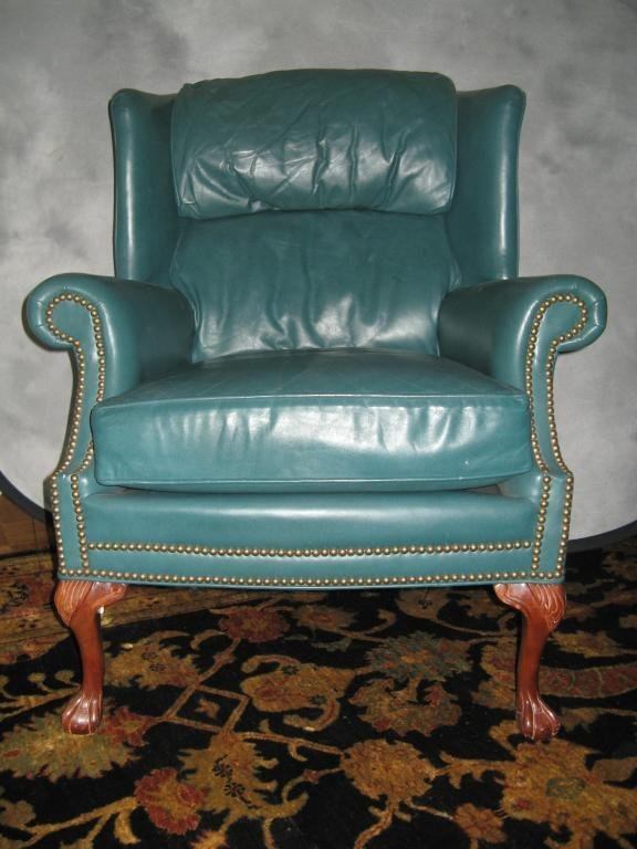 14: Pennsylvania House Leather Wing Backed Chair