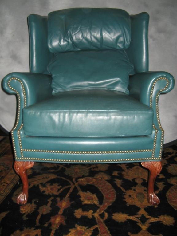 15: Pennsylvania House Leather Wing Backed Chair