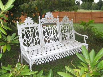 82: Victorian Renniasance Revival Wrought Iron Bench