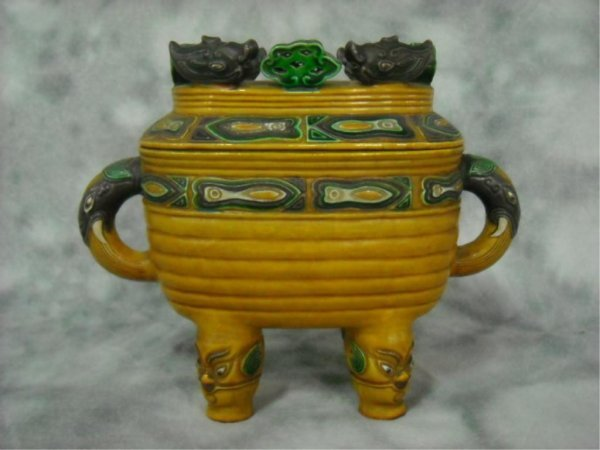 2: Rare Chinese Tsing Dynasty Polychromed  Vessel