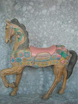 Handcarved & Painted Wood Carousel Horse
