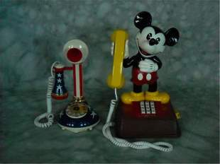 Vintage Mickey Mouse and Candlestick Phones