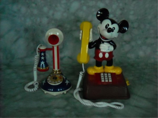 14: Vintage Mickey Mouse and Candlestick Phones