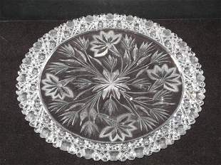 Cut Glass Charger, in the style of Hawkes