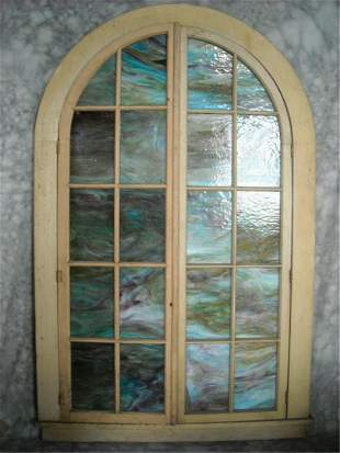 Pair of Stained Or Slag Glass Church Windows