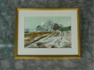 Bietel WaterColor painting Snowy Fields