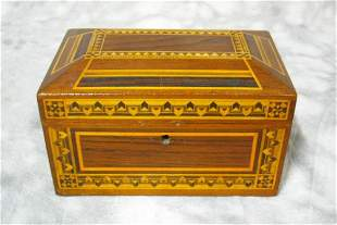 Federal Style Inlaid Marquetry Box, Jewelry, Dres