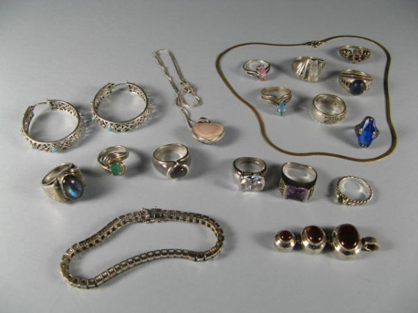 1: Lot Of Sterling Silver Jewelry With Stones