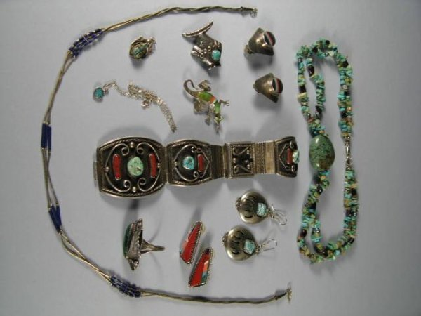 5: Sterling Silver And Turquoise Jewelry Lot