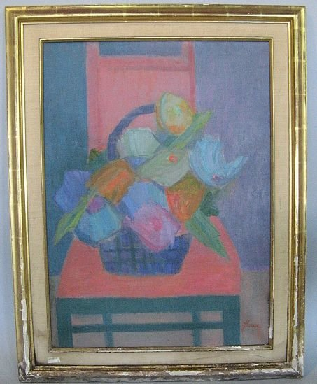 Abstract Painting In Wood Frame Signed Zlowe