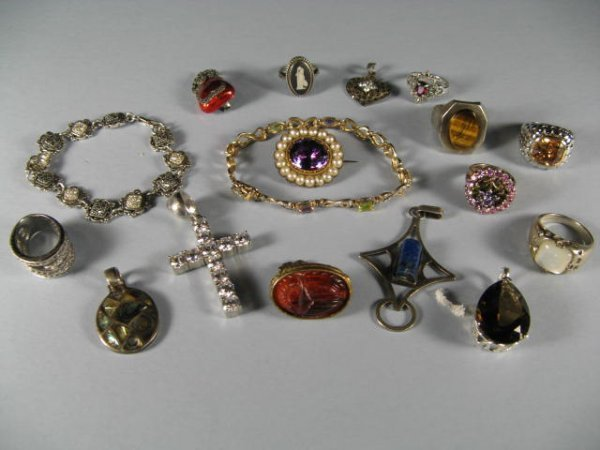 15: Sterling Sivler Jewelry With Stones, Large Lot