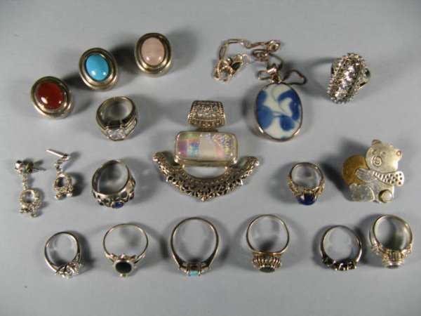 17: Lot Of Sterling Silver With Stones