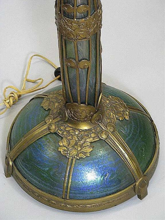 350: Art Nouveau Loetz Art Glass & Bronze Floor Lamp Au - 4