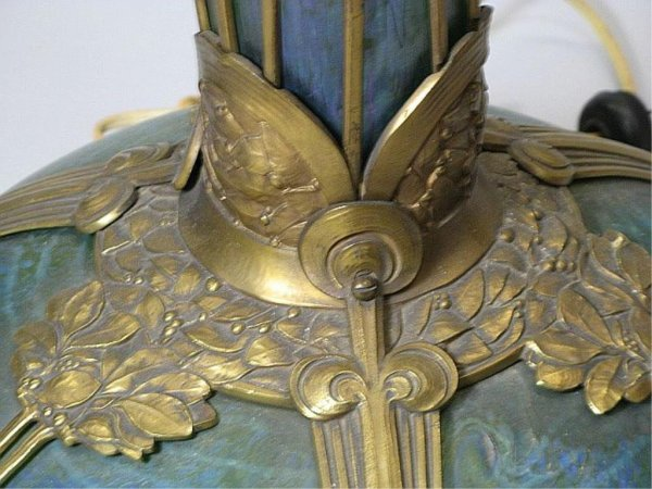 350: Art Nouveau Loetz Art Glass & Bronze Floor Lamp Au - 5