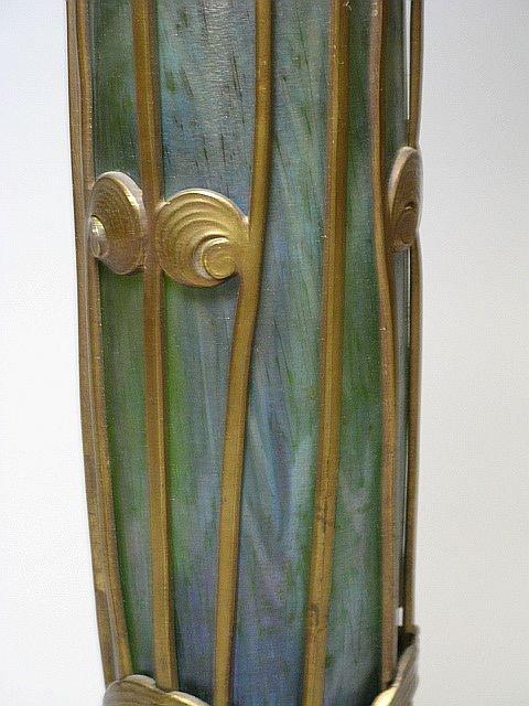 350: Art Nouveau Loetz Art Glass & Bronze Floor Lamp Au - 6