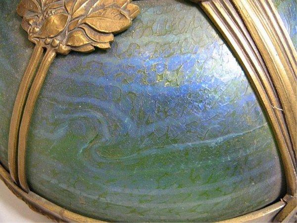 350: Art Nouveau Loetz Art Glass & Bronze Floor Lamp Au - 8