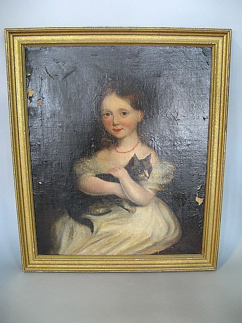 423: 19th C. Painting Portrait Of Young Girl & Cat
