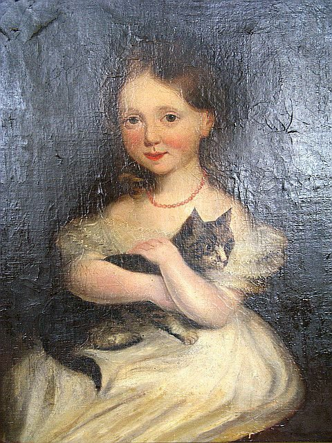 423: 19th C. Painting Portrait Of Young Girl & Cat - 2