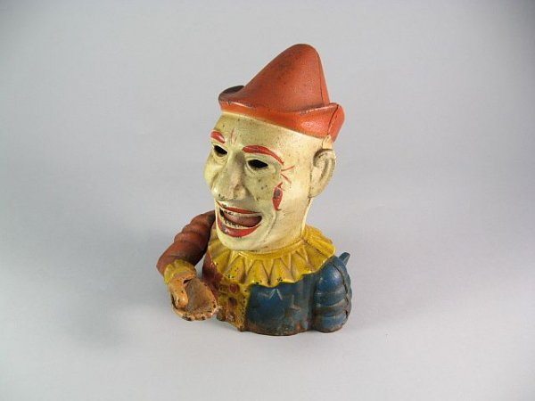 18: Painted Cast Iron Clown Bank