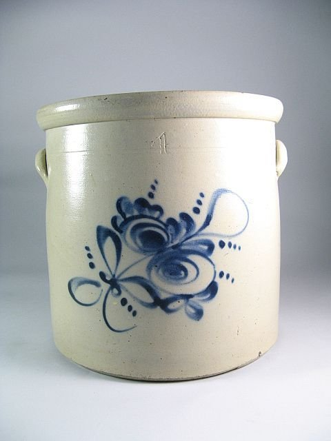 24: 19th C. Blue Decorated Stoneware Crock