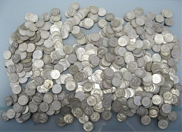 45: Lot of Mercury And Silver Dime Collections