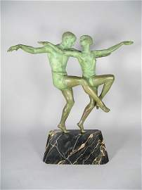125:   Bouraine Art Deco Bronze Dancers Sculpture 20""