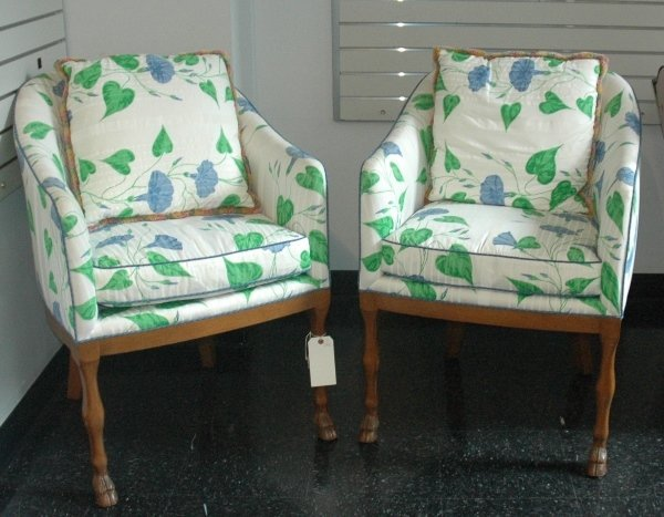2: A PAIR OF UPHOLSTERED FRUITWOOD BERGERES