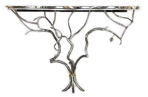 5: A MARBLE TOP WROUGHT IRON CONSOLE