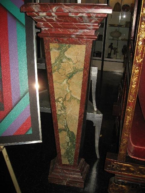11: A PAIR OF FAUX MARBLE PEDESTALS