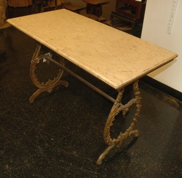 15: AN ITALIAN MARBLE TOP PASTRY TABLE