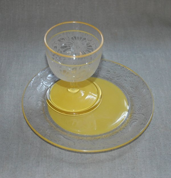 2:  A VENETIAN GOBLET AND PLATE, both plate and goblet