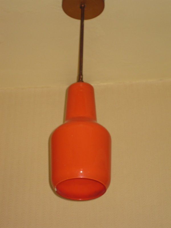 15: A VENINI ORANGE PLATED GLASS LANTERN, by Massimo Vi
