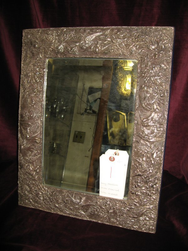 1: LARGE STERLING SILVER TABLE MIRROR WITH ALL OVER FLO