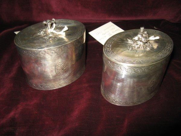 4: PAIR GEORGE III ENGLISH SILVER TEA CADDIES WITH SCRO