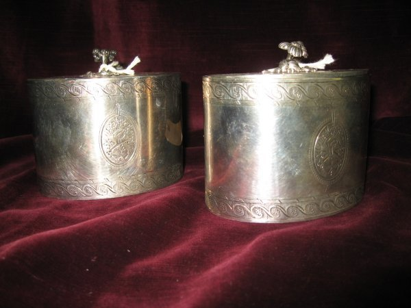 4: PAIR GEORGE III ENGLISH SILVER TEA CADDIES WITH SCRO - 2