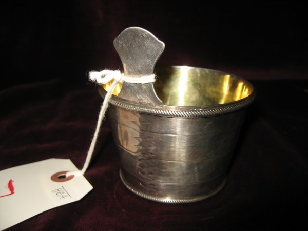 7: IRISH SILVER BEAKER WITH ENGRAVED CREST AND LETTERS,