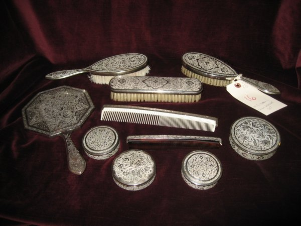 16: 10 PIECE PERSIAN SILVER VANITY DRESSER SET WITH ALL