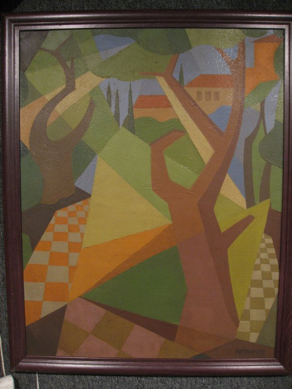 521: OIL ON CANVAS - CUBIST LANDSCAPE, SLR: PETTO RUIT,