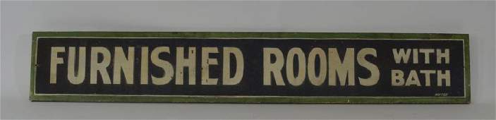 Furnished Rooms with Bath Wooden Sign